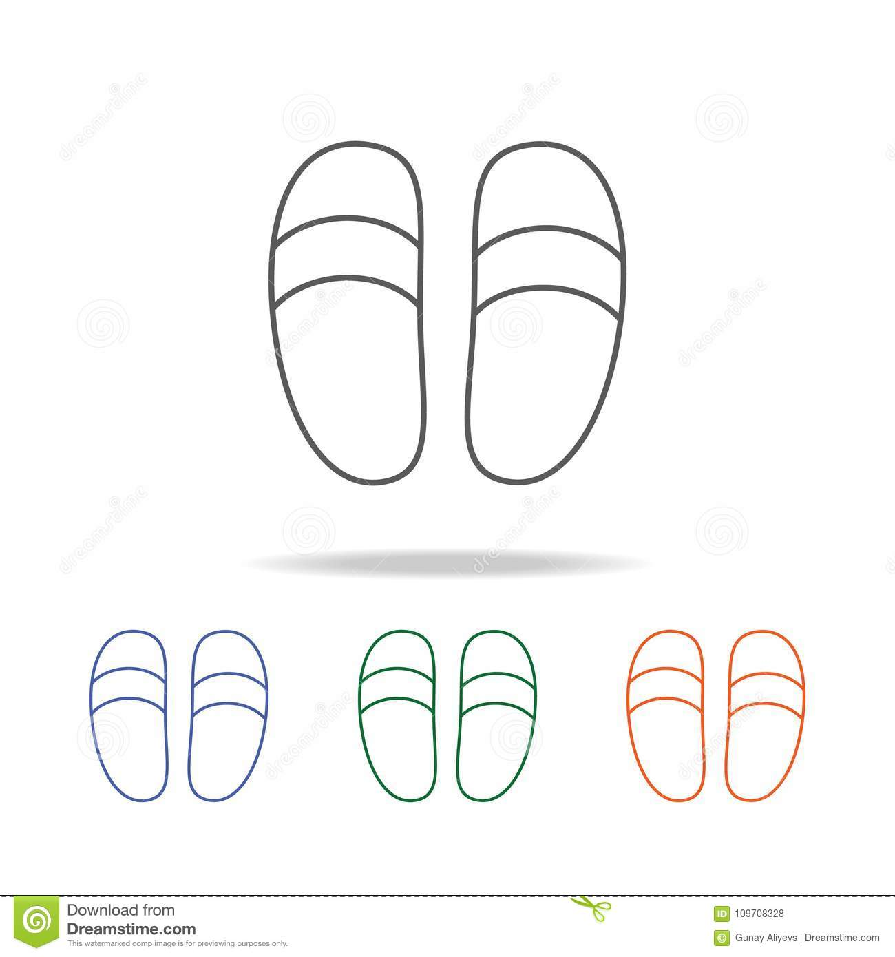 Slippers Icon. Element Of Bathroom Tools Multi Colored Icon For ...