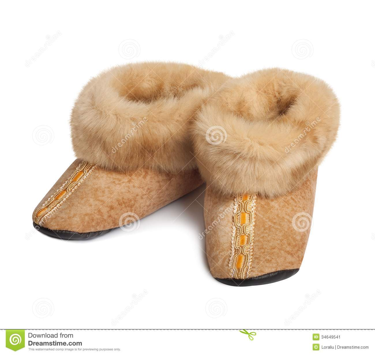 Slippers Made ??of Natural Goat Fur Stock Image - Image 34649541
