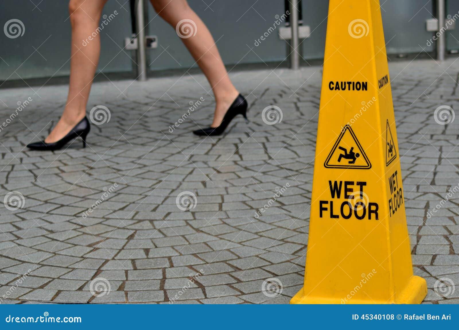 Slippery Floor Surface Warning Sign Stock Photo Image