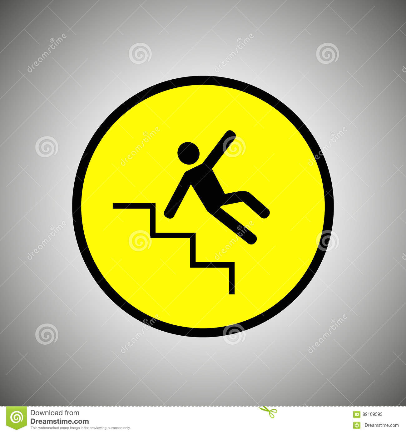slippery stairs sign falling man on stairs vector stock vector