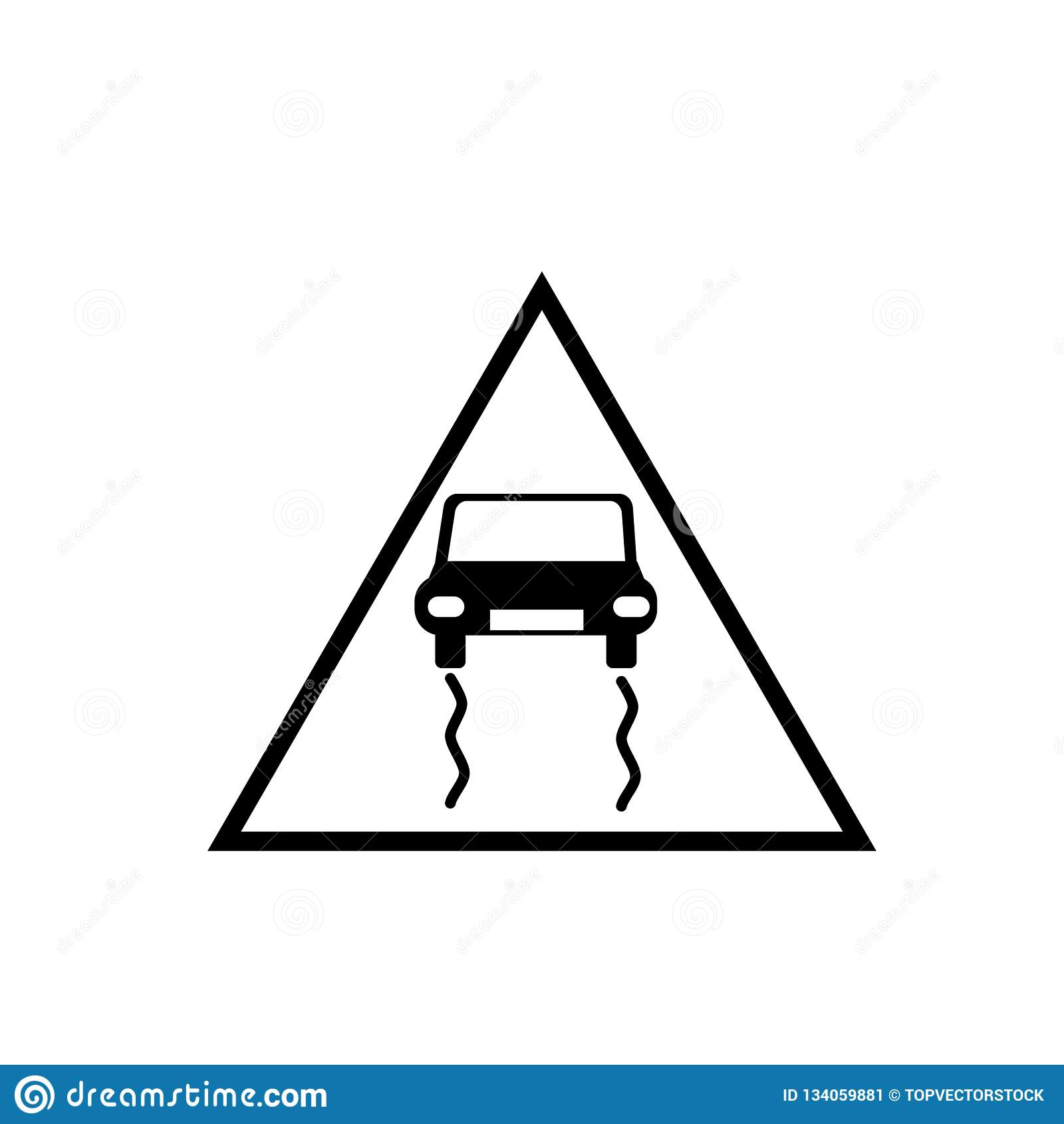 Slippy vector van het verkeerstekenpictogram op witte achtergrond, Slippy verkeerstekenteken wordt geïsoleerd dat