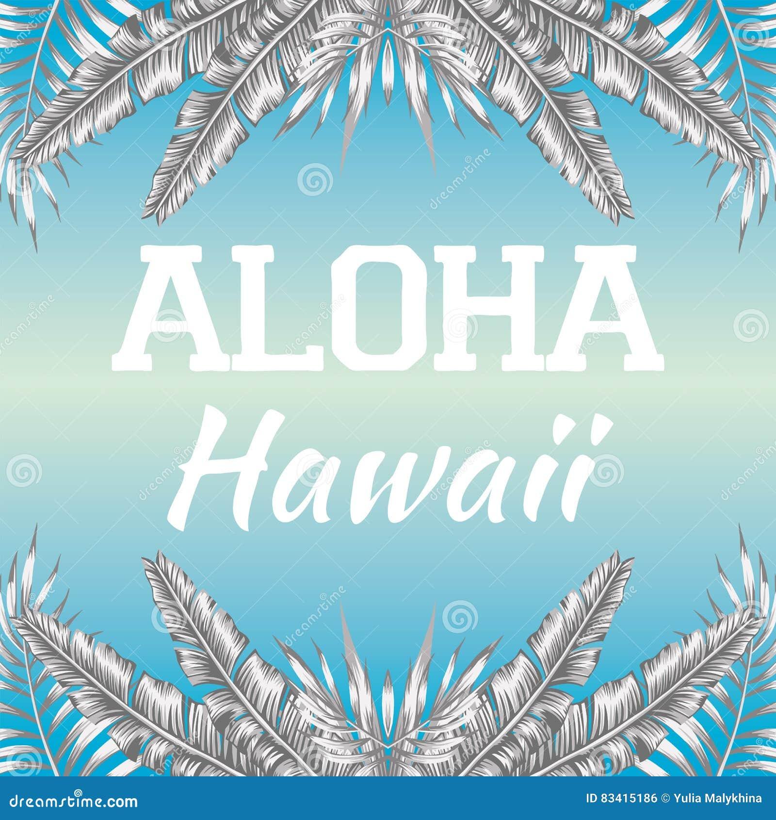 Slogan Aloha Hawaii Blue Background Royalty Free Illustration