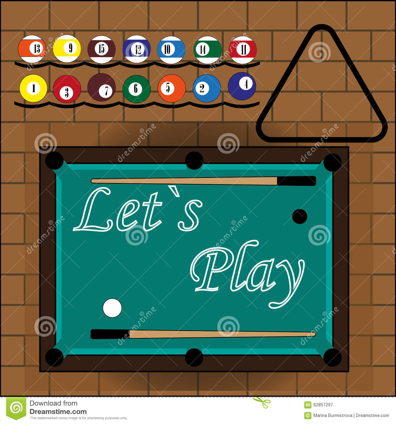 Slogan Let S Play To Billiard Stock Photo Image 62857297