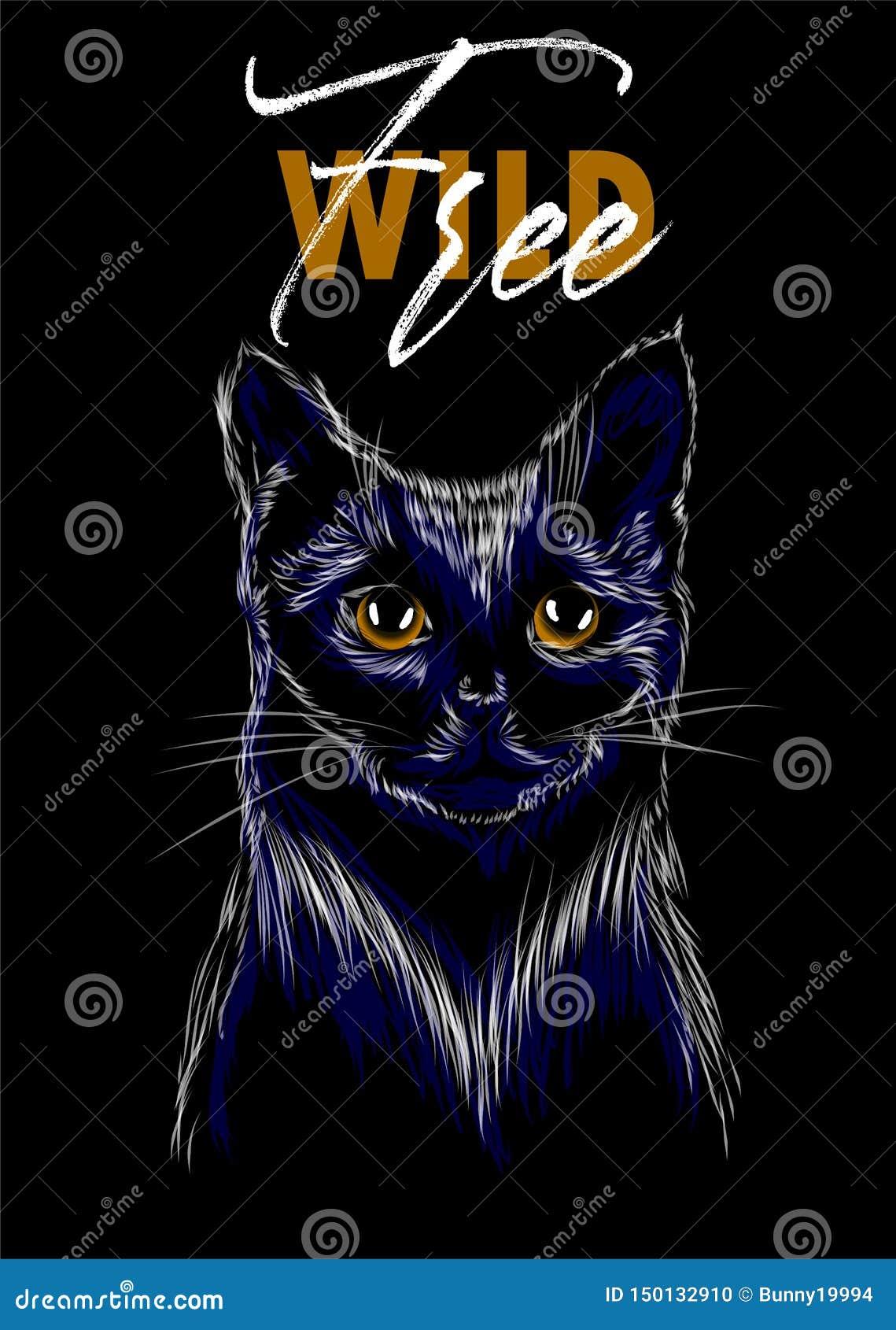 Slogan selvaggio e libero con la stampa del gatto Perfezioni per la decorazione quali i manifesti, l arte della parete, la borsa