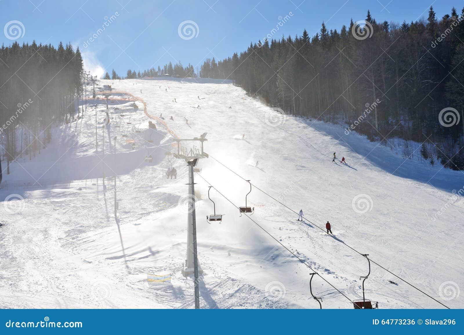 the slope of bukovel ski resort stock photo - image of bukovel, kids
