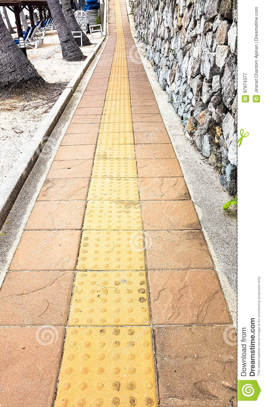 Slope Up Path Of Brick Walk Way Decorate With Stone Wall Stock Image ...