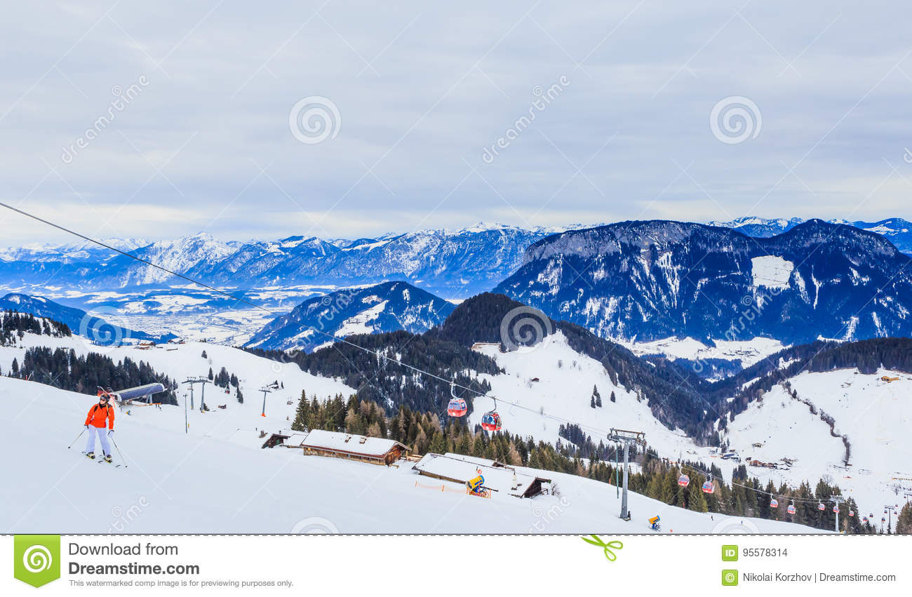 on the slopes of the ski resort soll, tyrol editorial stock image