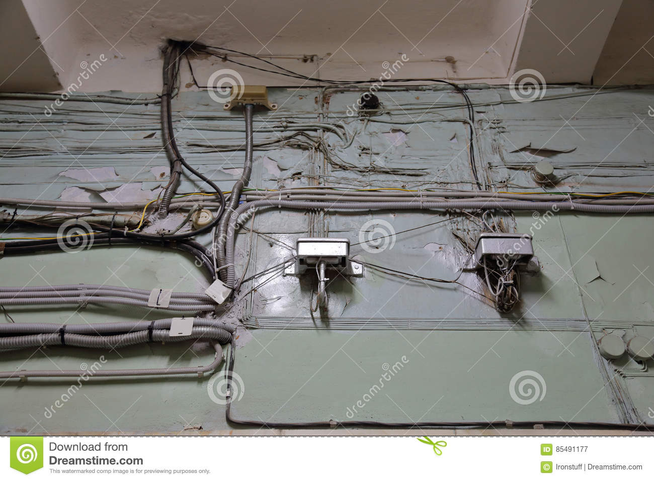 Sloppy old wiring stock image. Image of chaotic, wire - 85491177