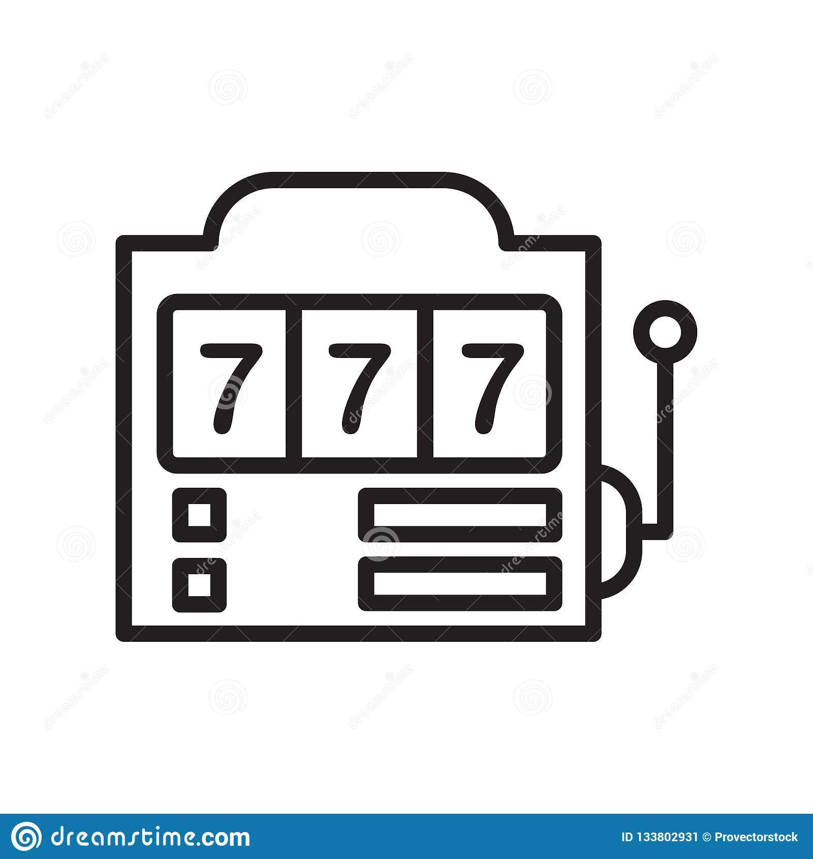 Slot machine icon vector sign and symbol isolated on white background