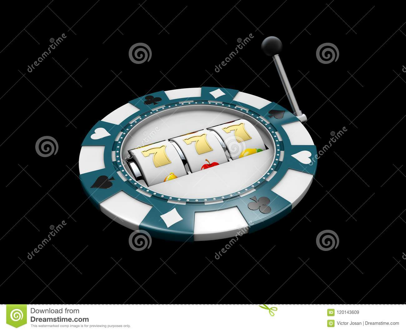 Slot machine with lucky sevens jackpot on the casino chip. 3d illustration isolated black