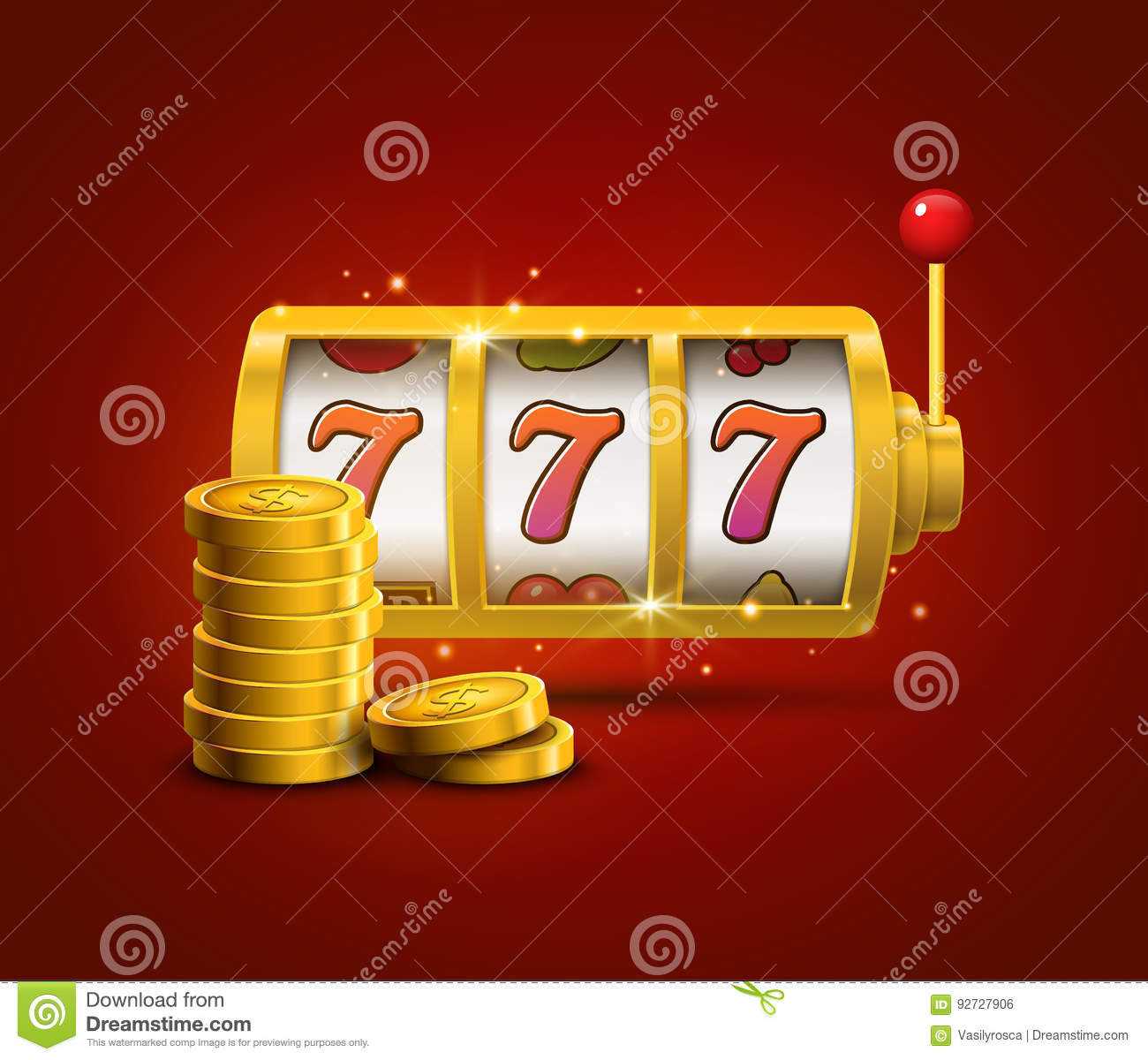 Slot machine lucky sevens jackpot concept 777. Vector casino game. Slot machine with money coins. Fortune chance jackpot
