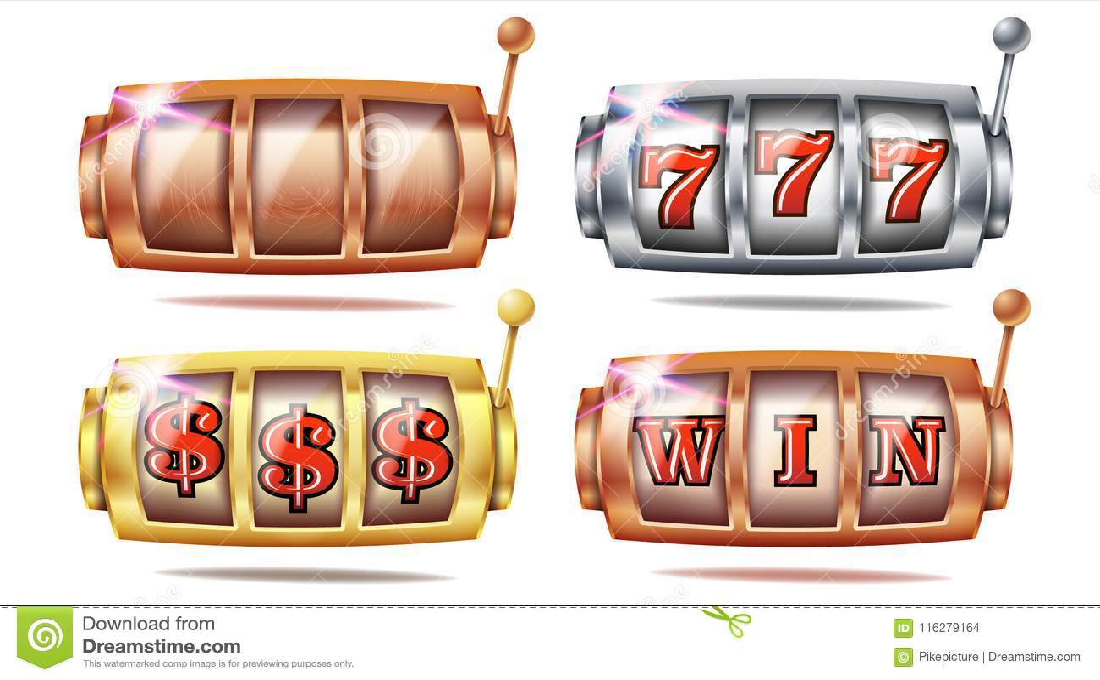 Slot Machine Set Vector 777 Golden Silver Bronze Gambling