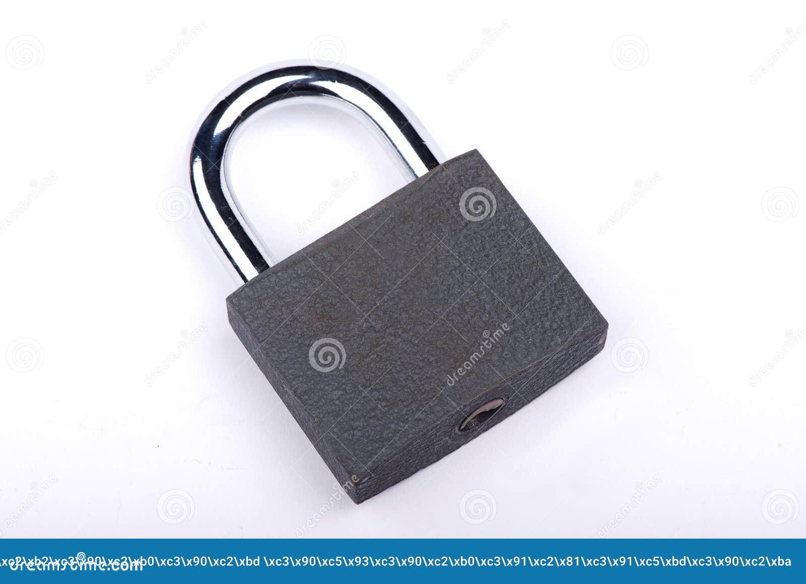 Slot op een witte achtergrond Kasteelclose-up Bescherming van bezit Veiligheid van geld