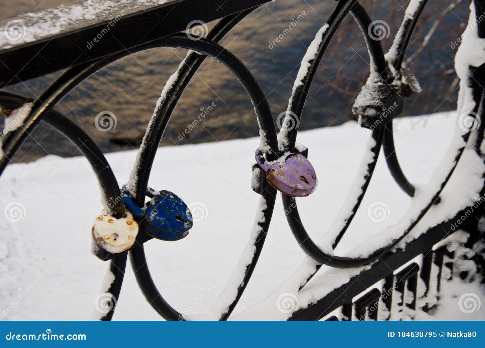 Download Sloten op de omheining stock afbeelding. Afbeelding bestaande uit bevroren - 104630795