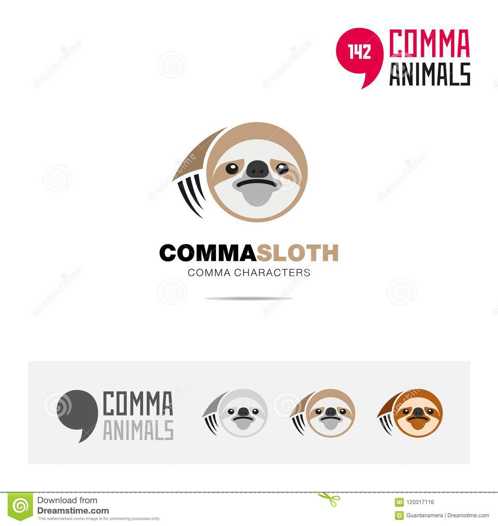 sloth animal concept icon set and modern brand identity logo