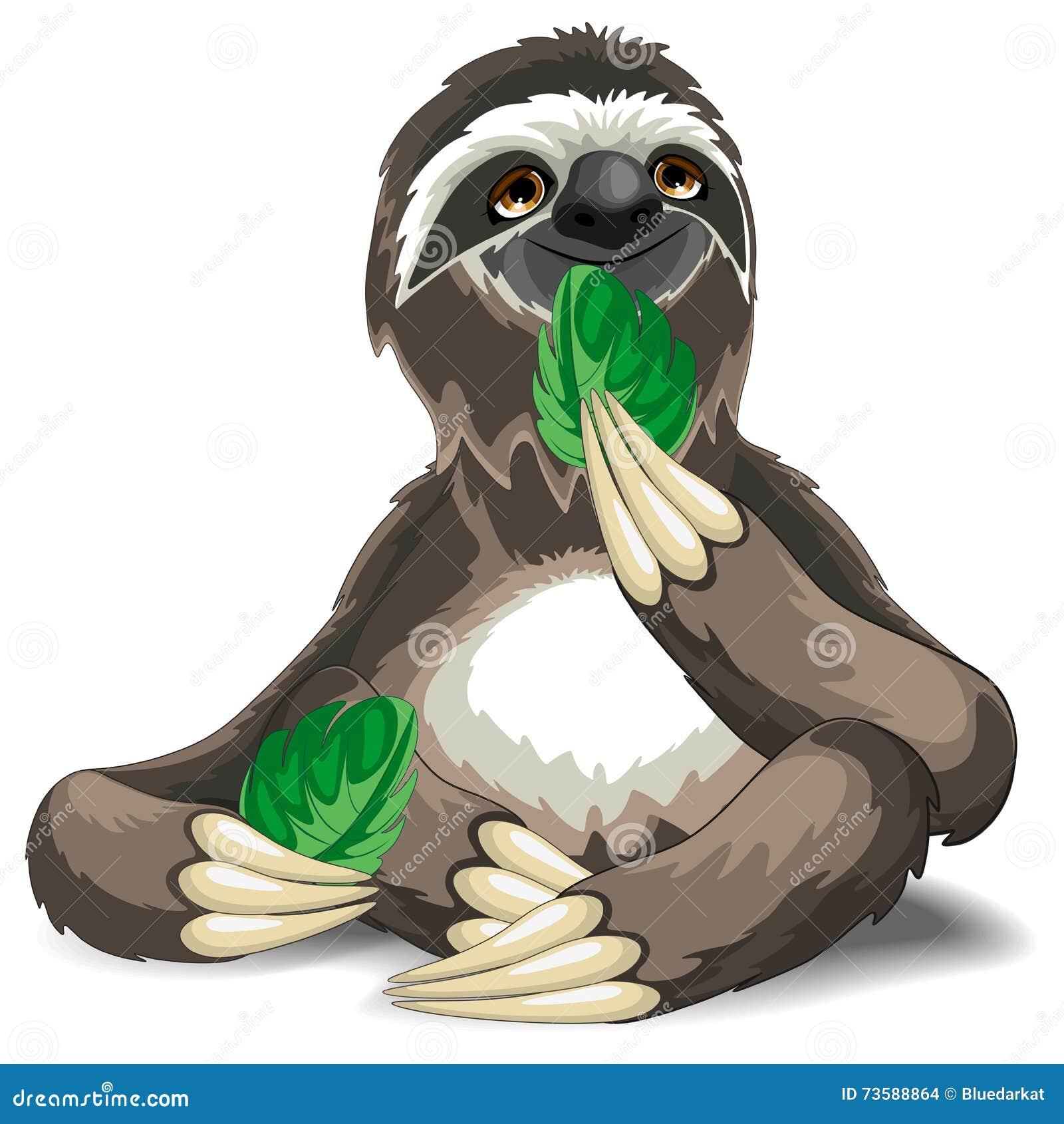 Cartoon Sloth Character. Emoticon Stickers Cartoon Vector ...