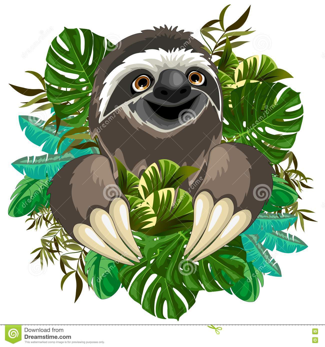 Sloth Cute Cartoon on Tropical Nature