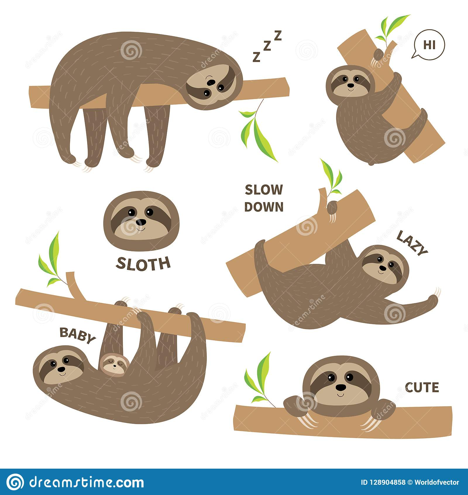 Sloth set mother with baby. Cute lazy cartoon kawaii character. Fluffy fur. Slow down text. Tree branch Wild joungle animal collec