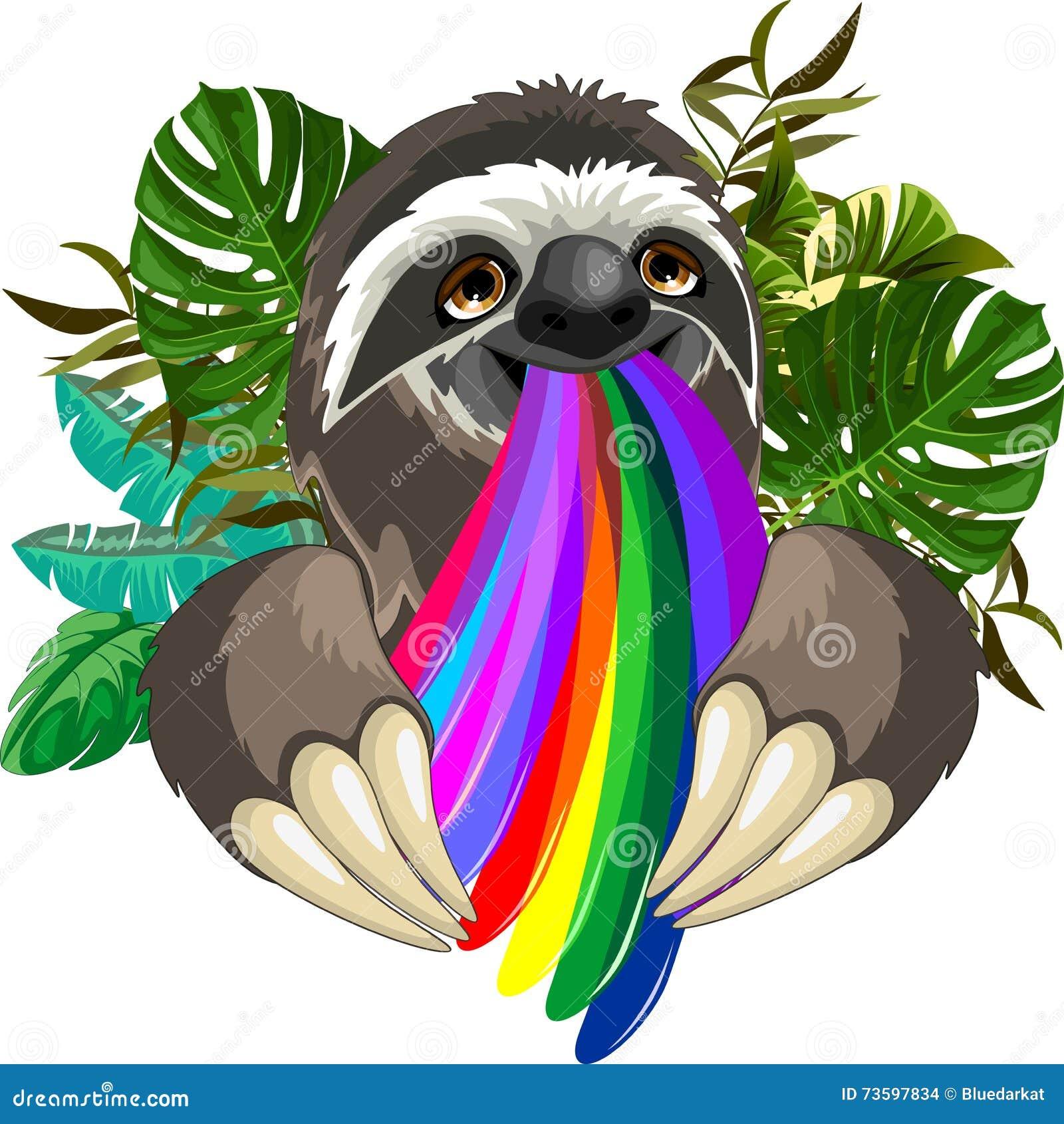 Sloth Spitting Rainbow Colors