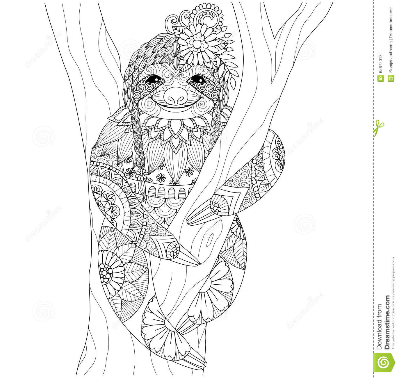 Sloth Stock Vector Illustration Of Hand Aztec Forest