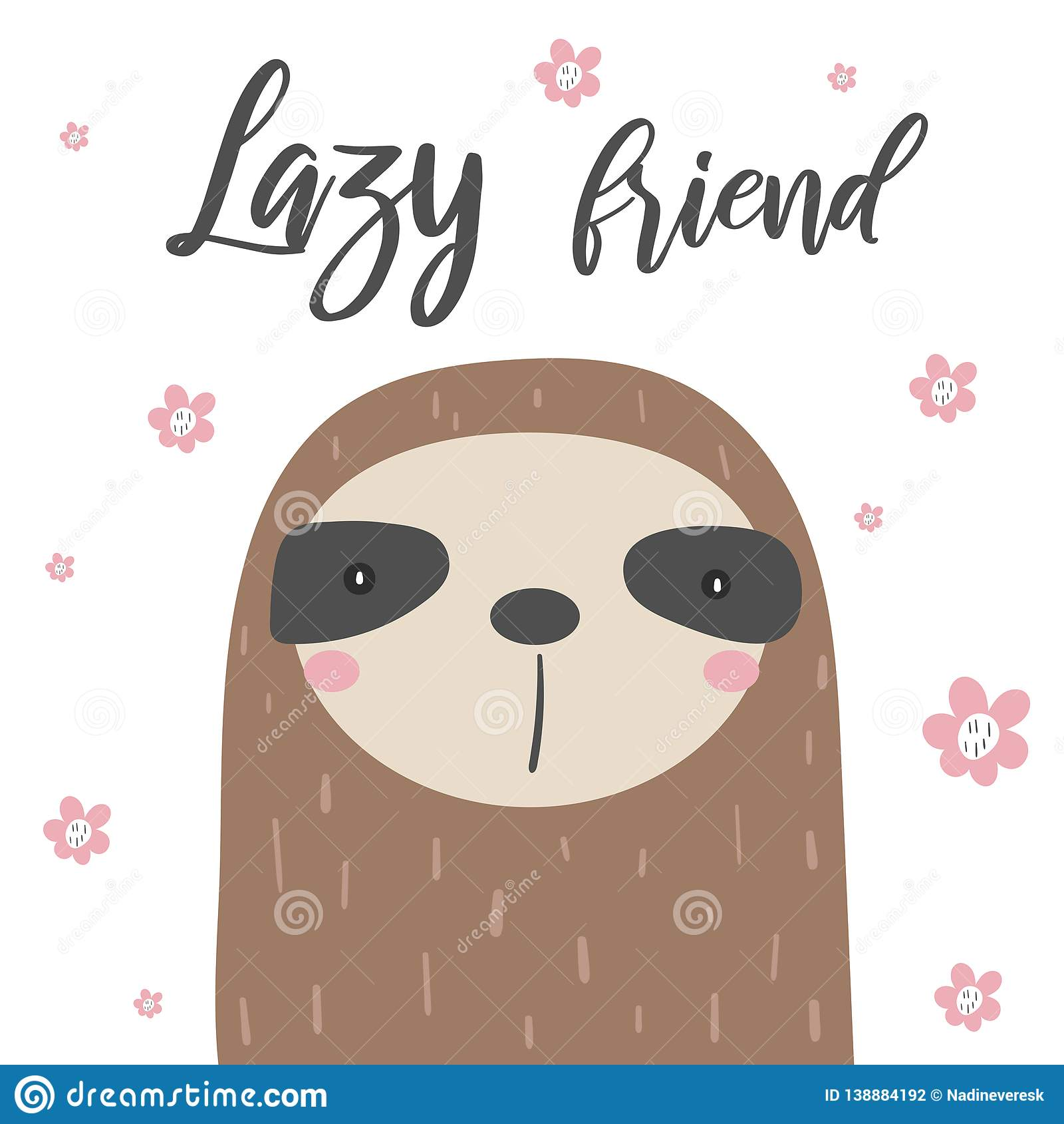 Sloths Card, Postcard With Flowers, White Background, Lazy Friend