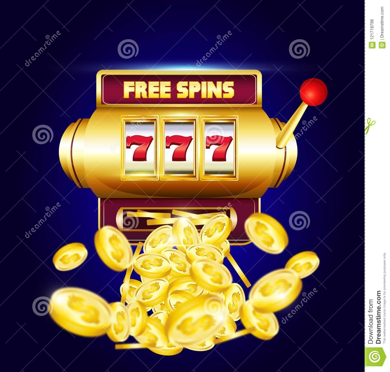 777 Slots 3d Machine With Big Win Coins And Inscription Stock