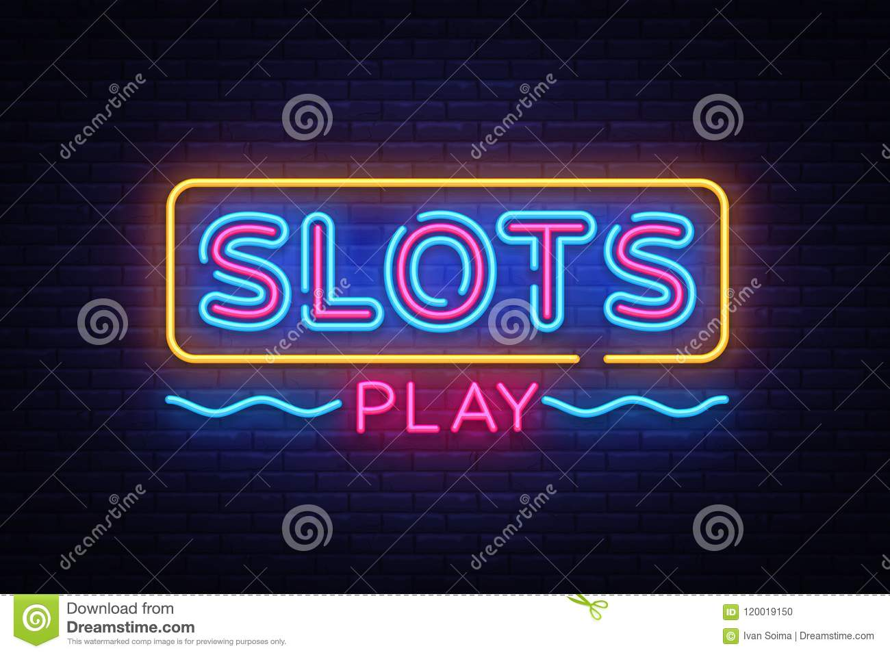 Slots Play neon sign vector. Slot Machine Design template neon sign, light banner, neon signboard, nightly bright