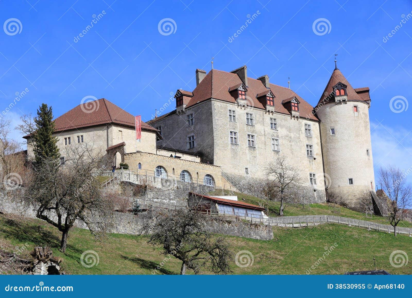 Slott av gruyère i Schweiz