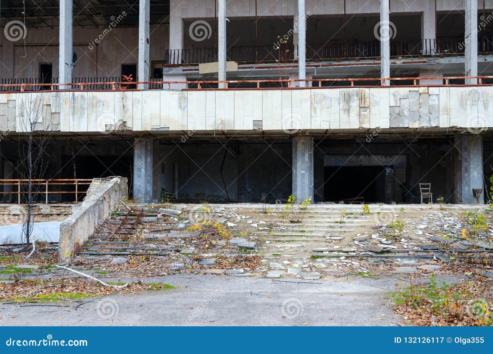 Slott av kultur Energetik, övergiven spökstad Pripyat, Ukraina