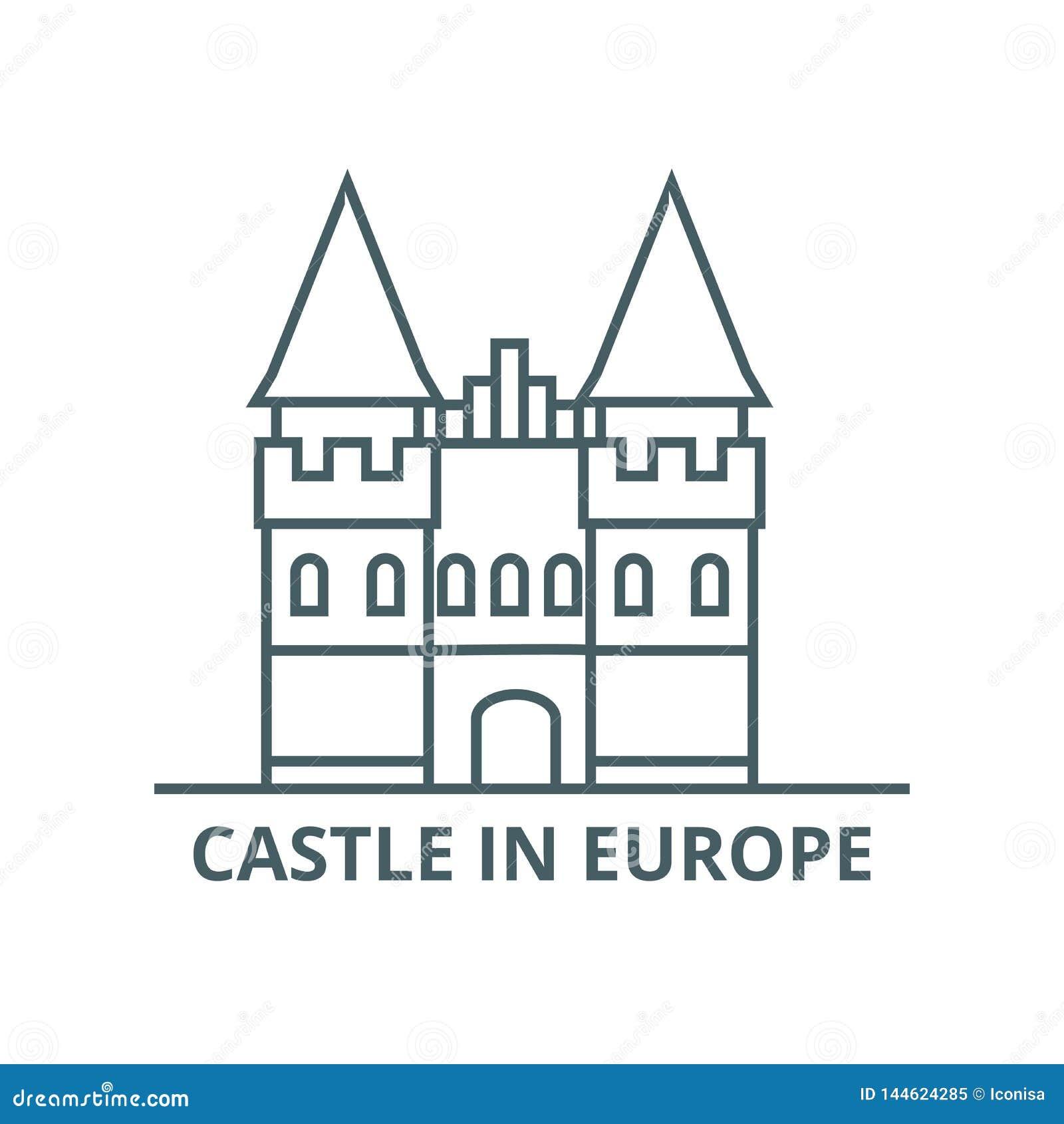 Slott i den Europa linjen symbol, vektor Slott i det Europa översiktstecknet, begreppssymbol, plan illustration