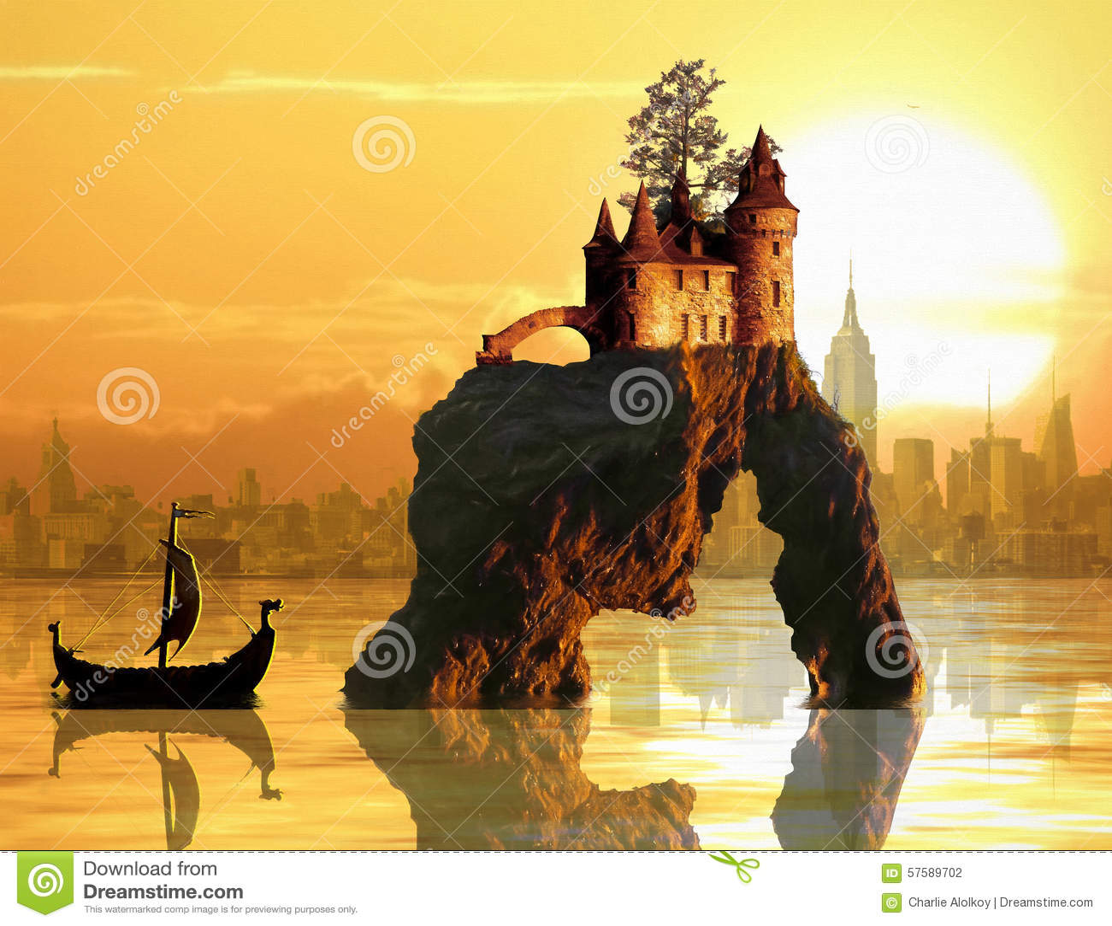 Slott på havsbunt