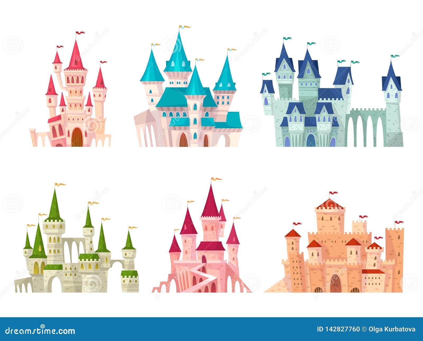 Slottuppsättning Medeltida uppsättning för tecknad film för citadell för port för slott för herrgård för slotttornsaga fästning s