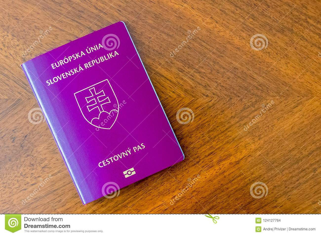 Slovak purple passport on a wooden table