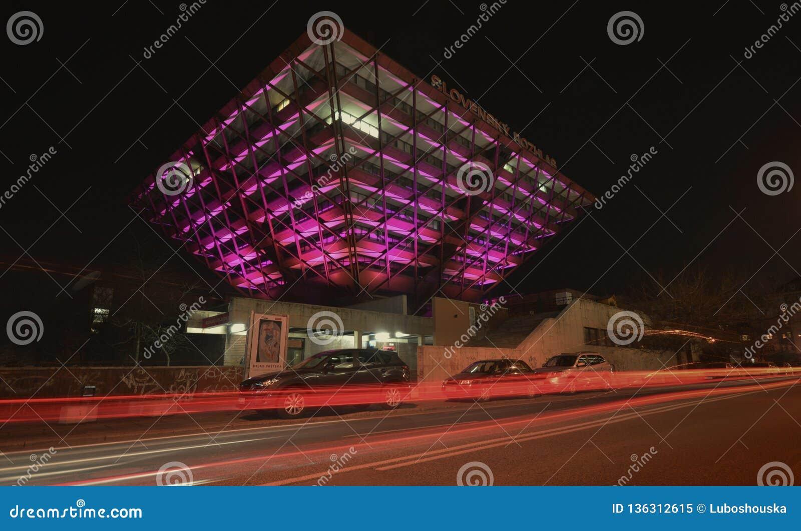 Slovak Radio Building at night.