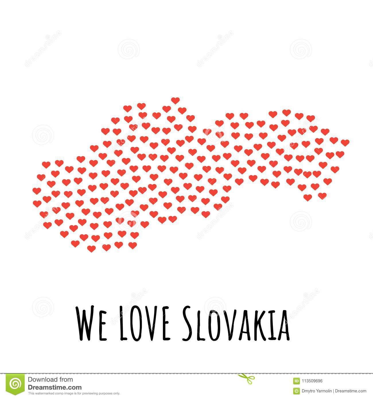 Slovakia Map With Red Hearts Symbol Of Love Abstract Background