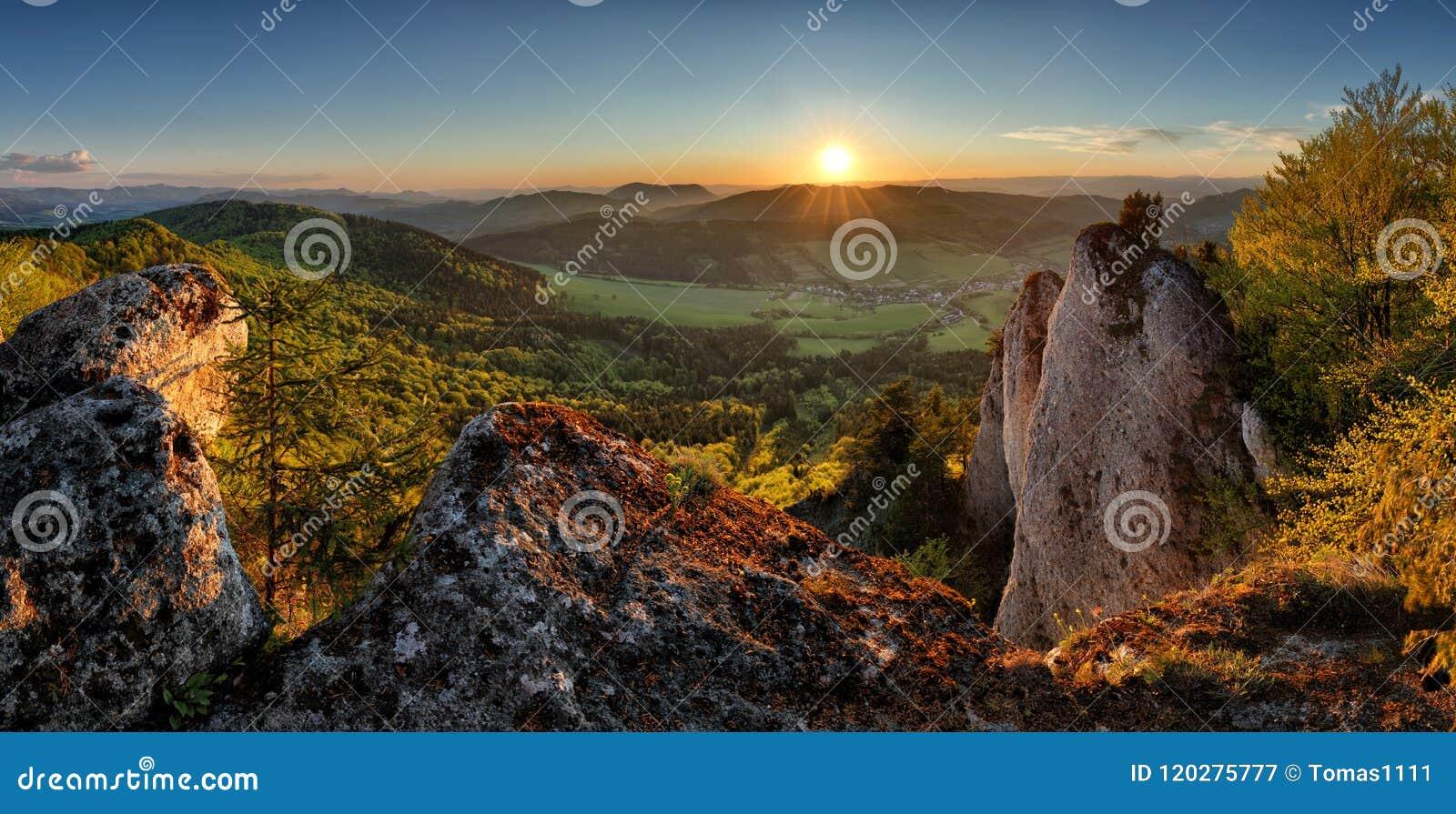 Slovakia Mountain sunset, panorama