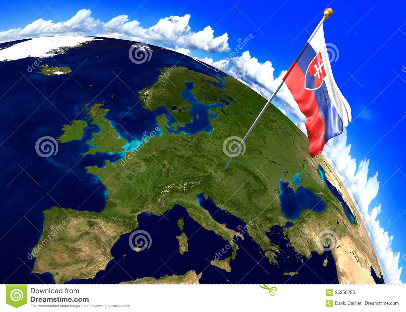 Slovakia National Flag Marking The Country Location On World Map ...