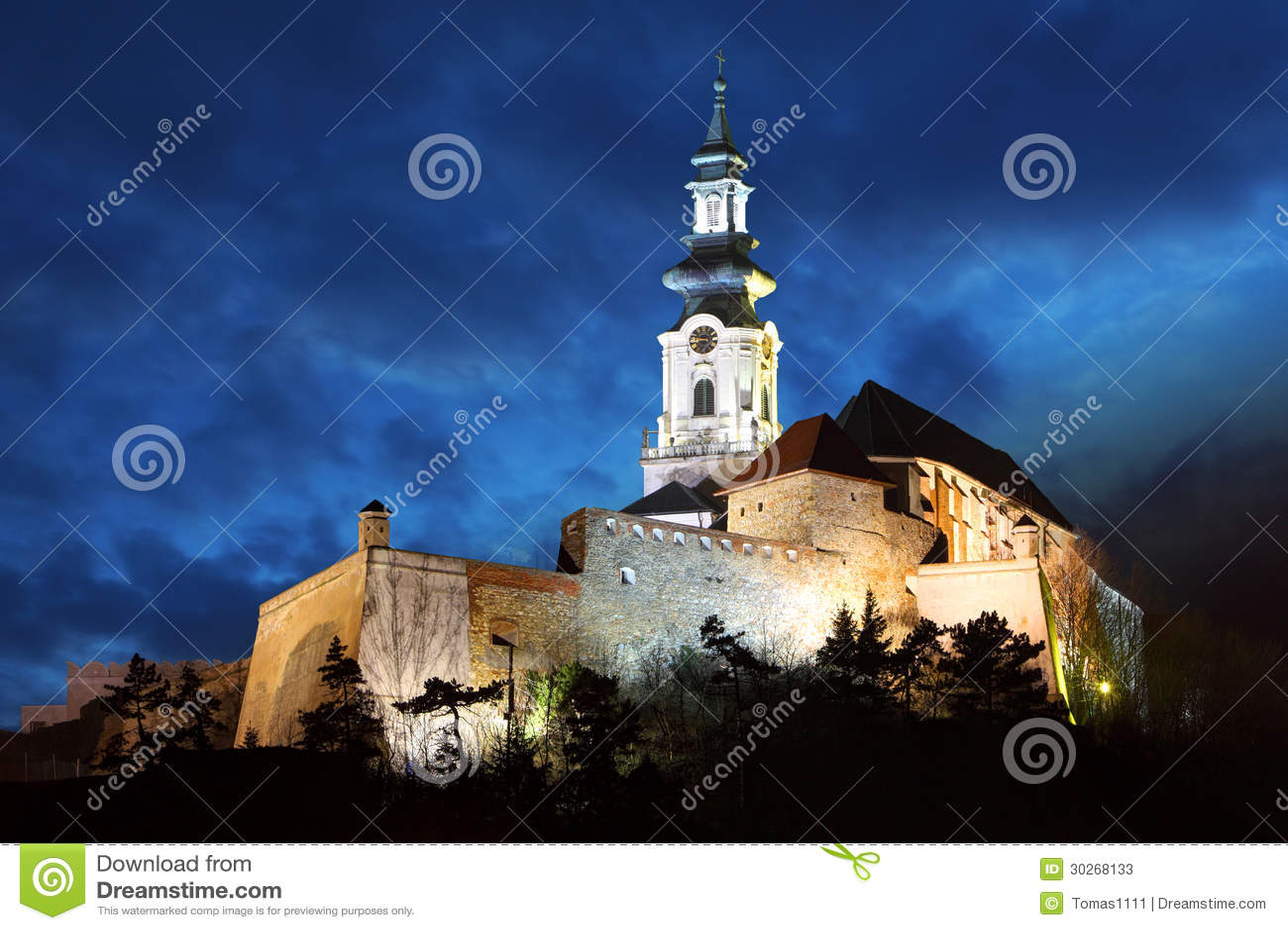 Slovakia - Nitra Castle at night