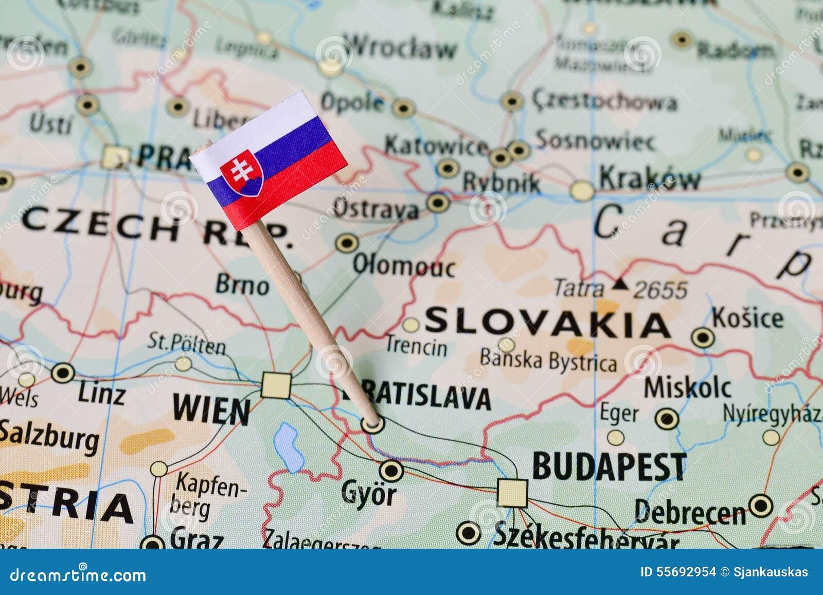 Slovakien flagga på översikt