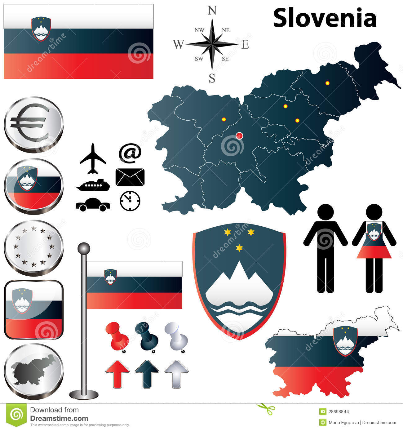 Slovenia Map Stock Photo Image Of Divisions Borders - Slovenia map download