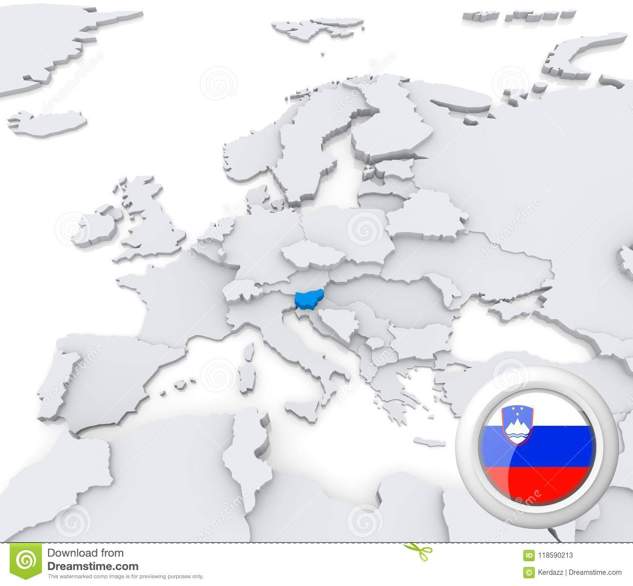 Slovenia on map of Europe stock illustration. Illustration ...