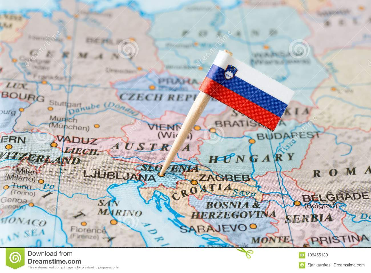Slovenia map and flag pin stock image. Image of area - 109455189