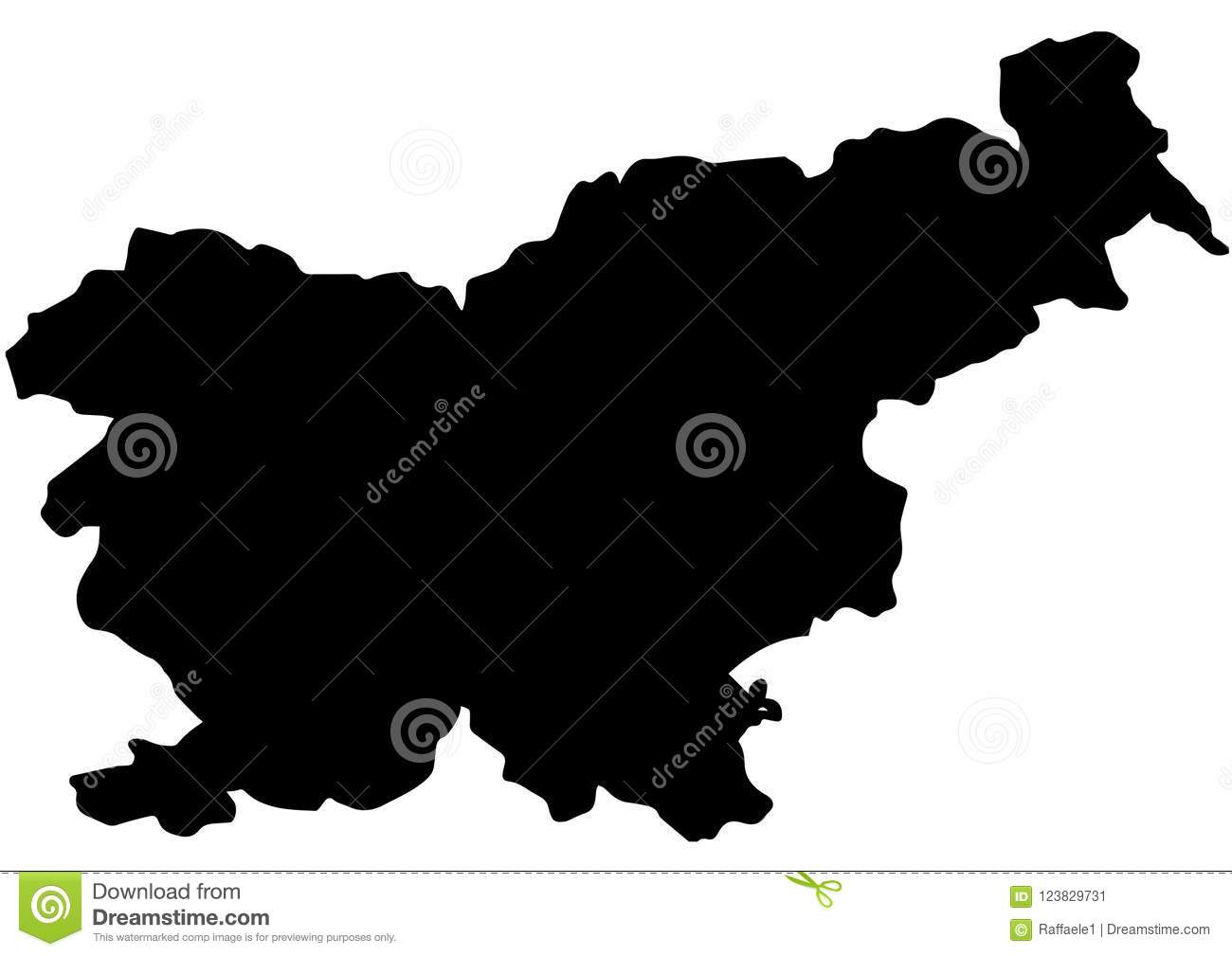 Slovenia State Map Vector Silhouette Stock Vector - Illustration of ...
