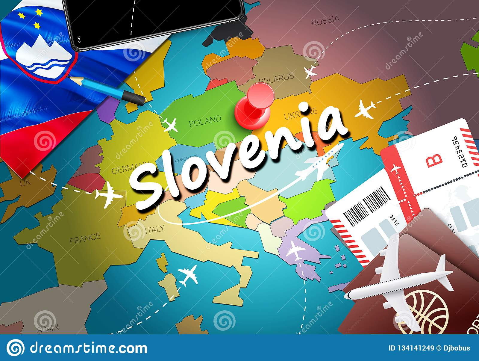 Slovenia travel concept map background with planes,tickets. Visit Slovenia travel and tourism destination concept. Slovenia flag