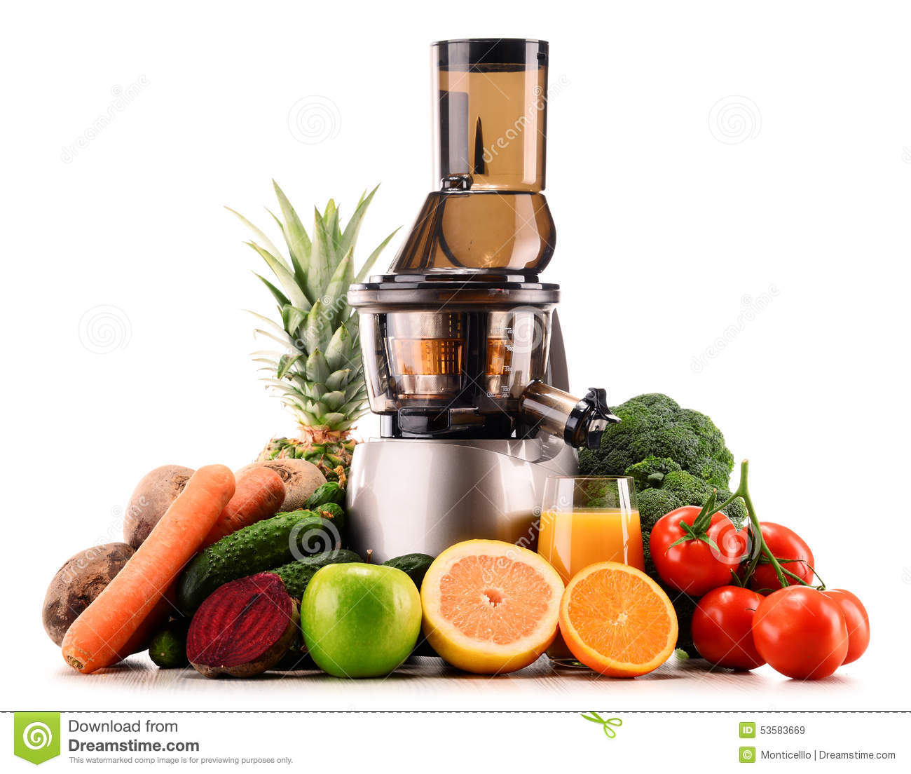 Slow Juicer Detox : Slow Juicer With Organic Fruits And vegetables On White ...