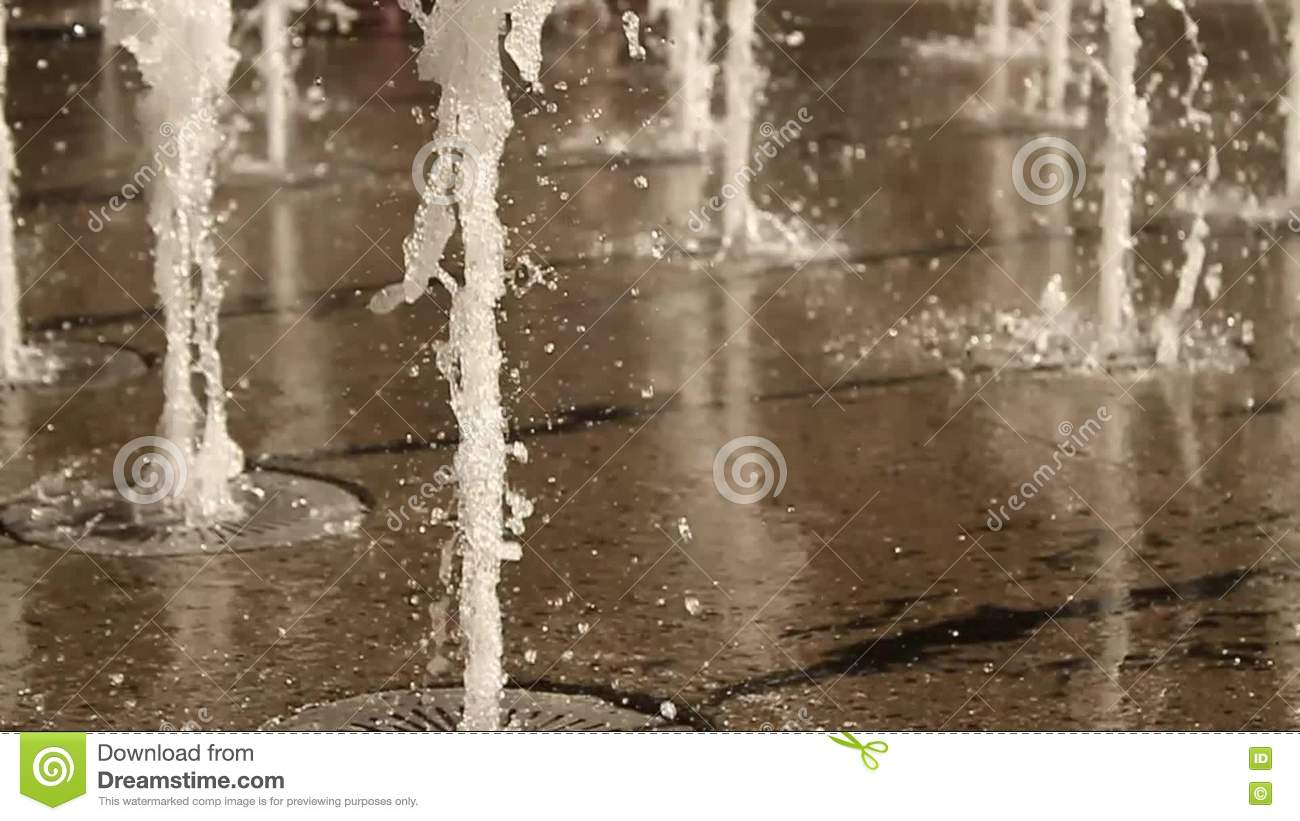 Perfect Slow Motion Of Floor Water Fountain With Jets. Stock Footage   Video:  71655390