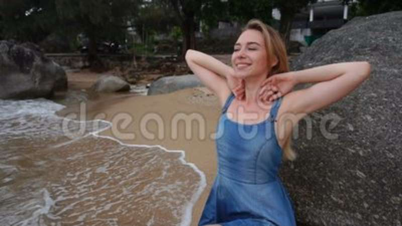 a5cca09347 Slow Motion Model Female On Photoshoot Near Sea. Stock Video - Video ...