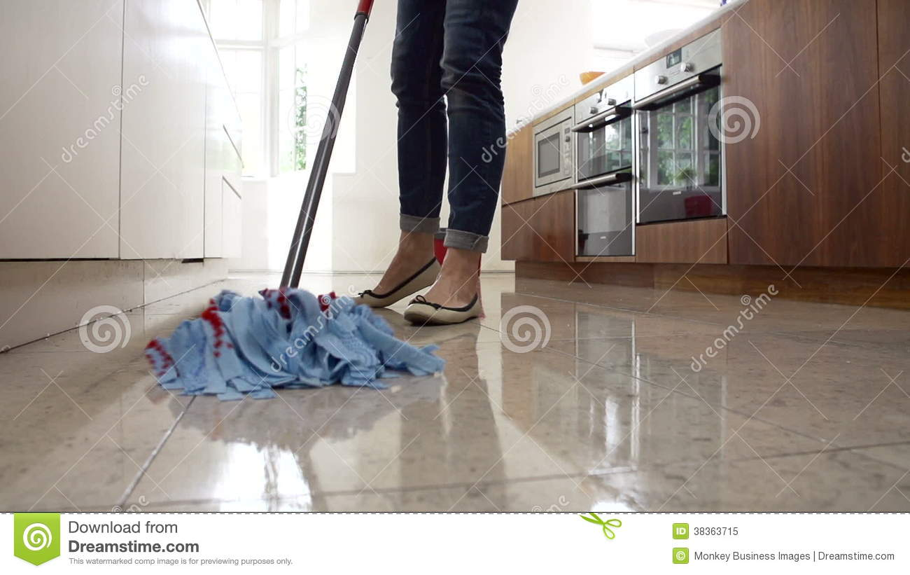 Kitchen Floor Mop Slow Motion Sequence Of Woman Mopping Kitchen Floor Stock Footage