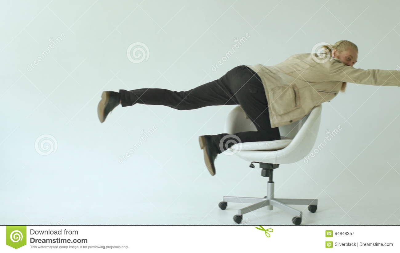 funny office chairs. Slowmotion Of Bearded Funny Businessman Have Fun Riding On Office Chair White Background Stock Video - Indoors, Laughing: 94848357 Chairs