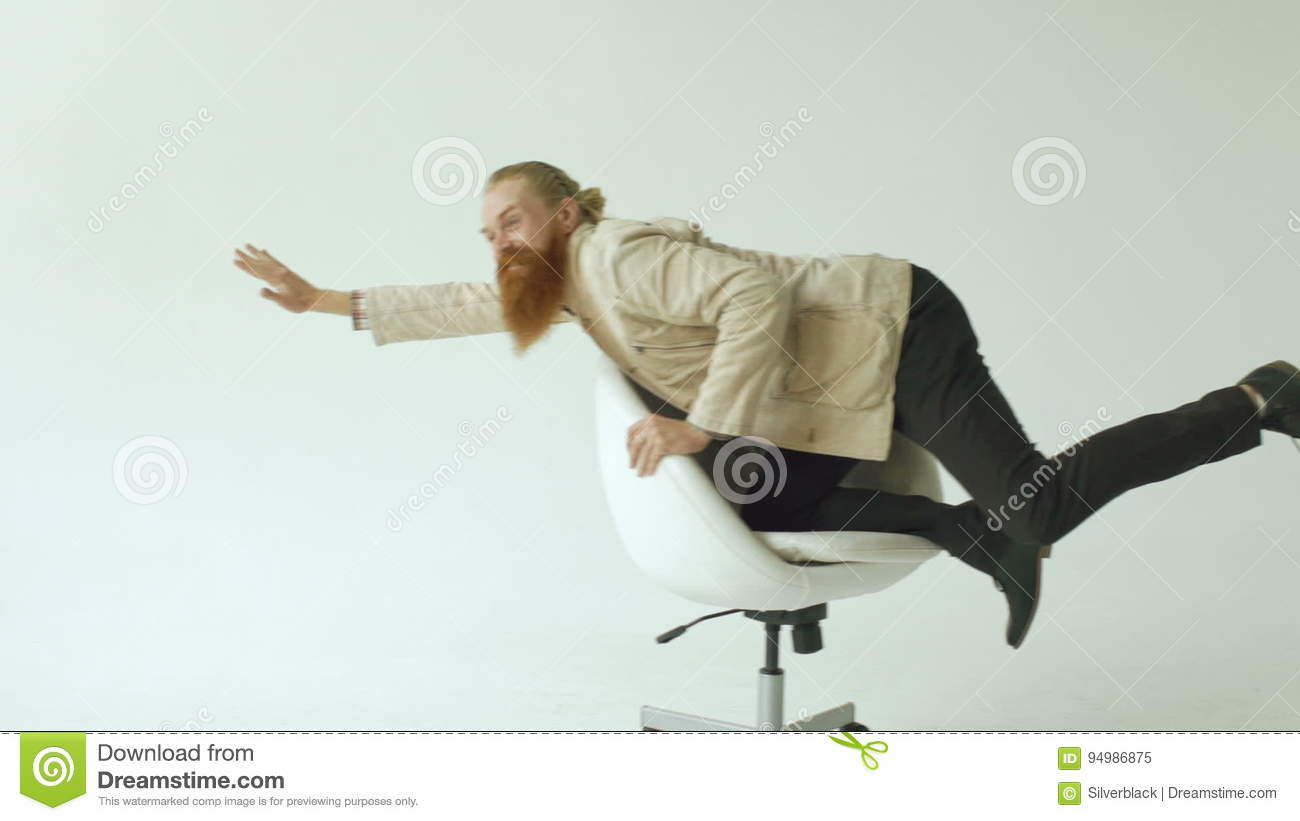 funny office chairs. Slowmotion Of Bearded Funny Businessman Have Fun Riding On Office Chair White Background Stock Video - Indoors, Office: 94986875 Chairs